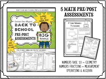 Back to School 4th Grade LANGUAGE & MATH Pre/Post Assessment BUNDLE (10 TESTS)