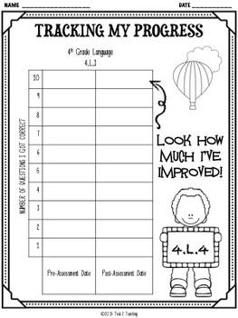Back to School 4th Grade Language CCSS Pre/Post Assessment (4.L.4)
