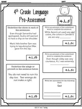 Back to School 4th Grade Language CCSS Pre/Post Assessment (4.L.5)