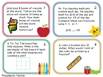 Back to School Math Task Cards 4th Grade  - Common Core