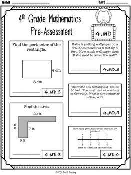 Back to School 4th Grade Math CCSS Pre/Post Assessment (MEASUREMENT & DATA)