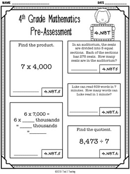 Back to School 4th Grade Math CCSS Pre/Post Assessment (NUMBERS BASE 10)