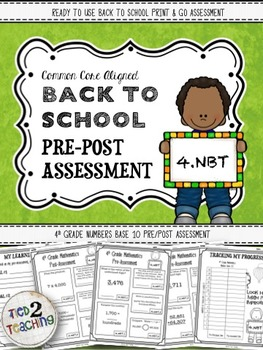Back to School 4th Grade Math CCSS Pre/Post Assessment (NU