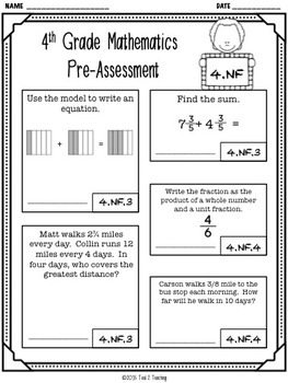 Back to School 4th Grade Math CCSS Pre/Post Assessment (NUMBERS FRACTIONS)