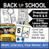 Back to School 5-Day Lesson Plan for Preschool, PreK, K, & Homeschool