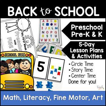 Back to School 5-Day Lesson Plan for Preschool, PreK, K, &