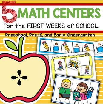 Back to School 5 Math Centers for Preschool