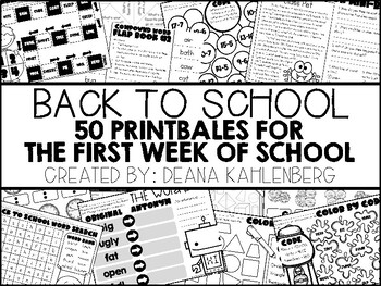 Back to School {50 Printables & Activities for the First Week of School}