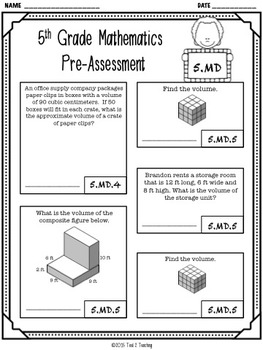 Back to School 5th Grade LANGUAGE & MATH Pre/Post Assessment BUNDLE! (10 TESTS)