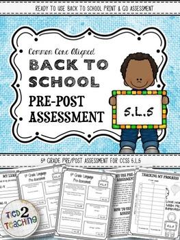 Back to School 5th Grade Language CCSS Pre/Post Assessment (5.L.5)