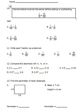 Back to School 5th Grade Math