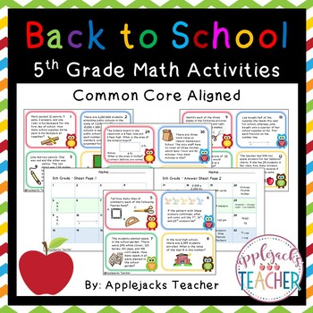 Back to School Math Task Cards 5th Grade  - Common Core