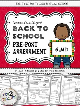 Back to School 5th Grade Math CCSS Pre/Post Assessment (Measurement & Data)