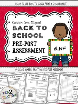 Back to School 5th Grade Math CCSS Pre/Post Assessment (NU