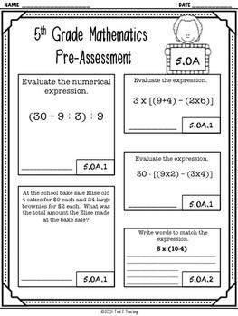 Back to School 5th Grade Math CCSS Pre/Post Assessment (OPERATIONS & ALGEBRA)