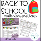 Back to School 5th Grade Math Story Problems   Distance Learning DIGITAL
