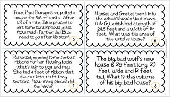 Back to School 6th Grade Common Core Math Review Task Cards