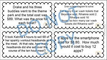 Back to School - 7th Grade Common Core Math Review Task Cards (EE, RP)