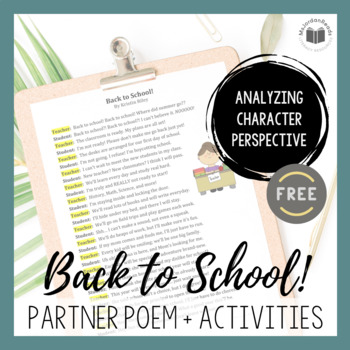 """Back to School!"" {A FREE Seasonal Partner Poem}"