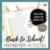 """Back to School!"" Partner Poem (FREE)"