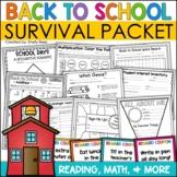 Back to School Activities First Week of School Beginning o