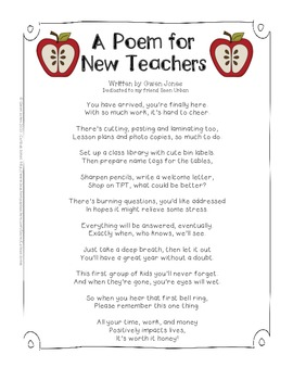 Back to School - A Free Poem and Tips for New Teachers
