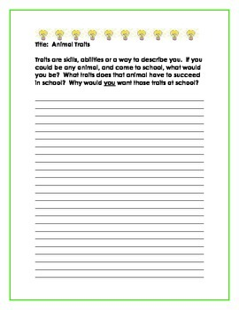 Back to School A New You...Reflective Journal Writing Prompts