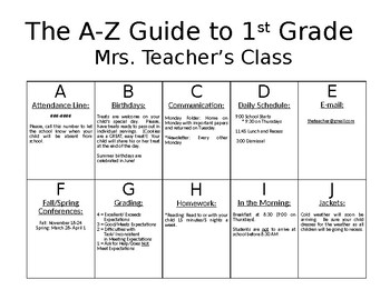 Back to School A-Z Information Sheet for Parents