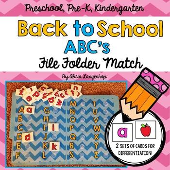 Back to School ABC File Folder Match
