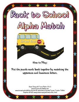 Back to School ABC Match Puzzle Cards Literacy Center FREEBIE
