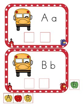 Back to School ABC Matching Cards Kindergarten Common Core Literacy Center