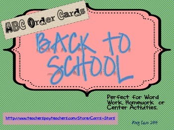Back to School ABC Order Cards