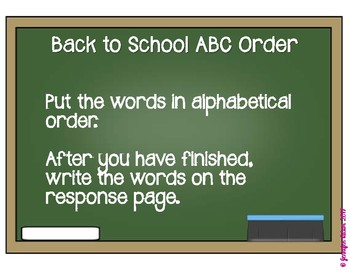 Back to School ABC Order Center - part of Back to School Literacy Centers Bundle