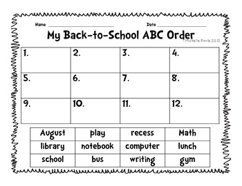 Back-to-School ABC Order Cut-and Paste