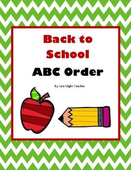 Back to School ABC Order FREEBIE