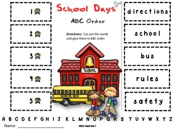Back to School ABC Order {Primary Edition}