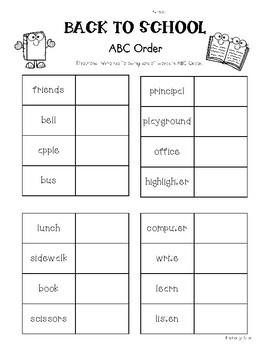 Back to School ABC Order Worksheet Pack