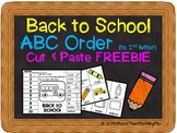 Back to School ABC Order (to 2nd letter) Cut and Paste Printable---FREEBIE