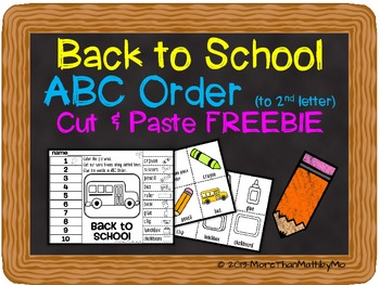 Back to School ABC Order (to 2nd letter) Cut and Paste Pri