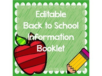 Back to School ABC Parent Packet - Editable