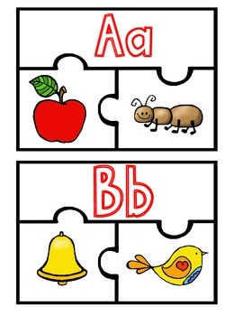 Back to School ABC Puzzles:  Color and Black and White