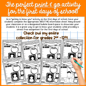 """Back to School """"ABOUT ME"""" Printable for 5th Grade"""