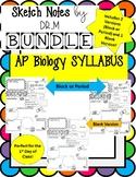 Back to School AP Bio Syllabus Sketch Notes ! Includes 2 V