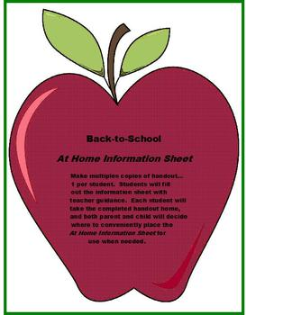 Back -to -School AT HOME INFORMATION SHEET