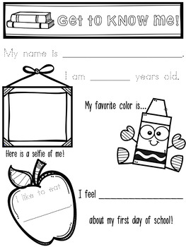 Back to School About Me Page