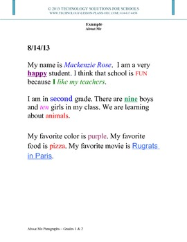 Back to School - About Me Paragraphs