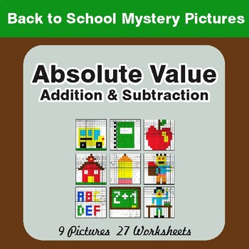 Back to School: Absolute Value (Addition & Subtraction) Math Mystery Pictures