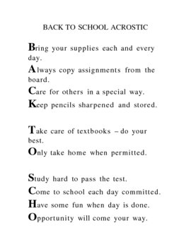 Back to School Acrostic