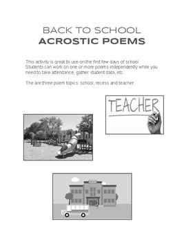 Back-to-School Acrostic Poem Activity