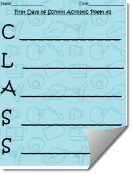Differentiated Back to School Acrostic Poem Activity Set